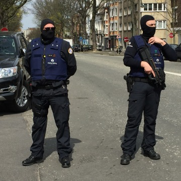 Image: There was intense police activity Saturday in the Brussels suburb of Ettenbeek.