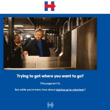 IMAGE: Clinton campaign 404 page