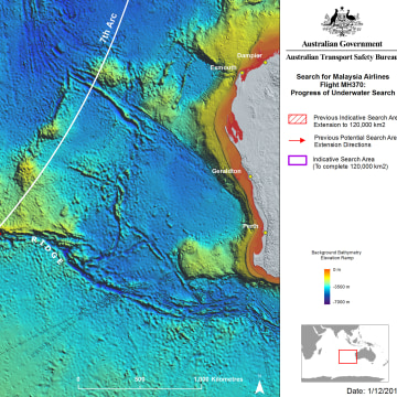 Image: Map of the MH370 search operation