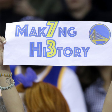 Image: Warriors fan hold up sign during game against Grizzlies