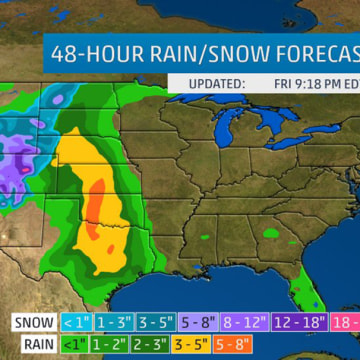 Image: The map shows the rain and snow forecast for the next 48 hours.