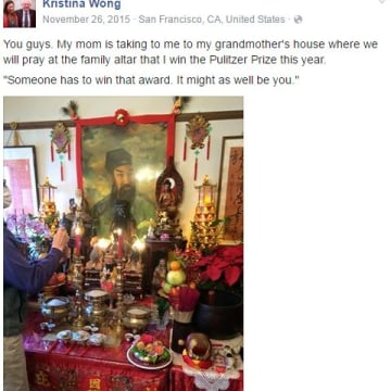 The altar at Kristina Wong's grandmother's house where her mother prayed she would win the Pulitzer Prize for Drama.
