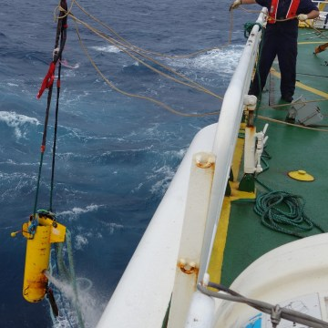 Image: The 1,800 pound 'depressor' weight was found embedded in sediment on the seabed.