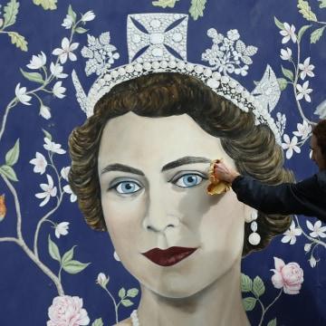 Image: A mural marking Queen Elizabeth II's 90th birthday
