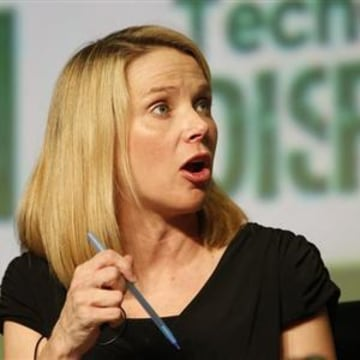 Yahoo! CEO Mayer speaks during TechCrunch Disrupt SF 2012 in San Francisco