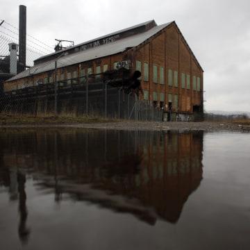 An abandoned steel blast furnace is seen in Pittsburgh, Pennsylvania