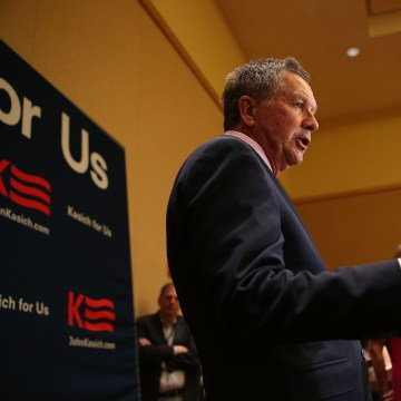 Image: Republican Presidential Candidate John Kasich Speaks To Media At RNC Spring Meeting