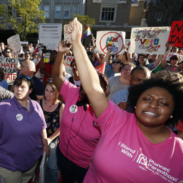 Image: Protesters call for Mississippi Gov. Phil Bryant to veto House Bill 1523