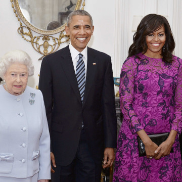 Image: Queen Elizabeth II  (left) stands with the President and First Lady of the United States Barack Obama and his wife Michelle, in the Oak Room at Windsor Castle