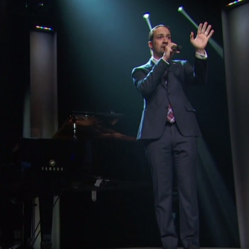 Lin-Manuel Miranda performing on 'Last Week Tonight with John Oliver'