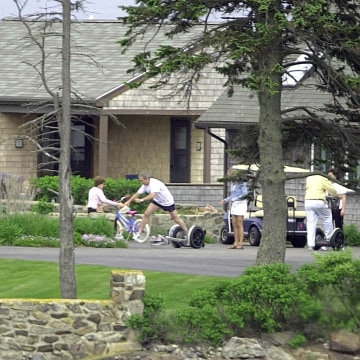 President Bush Falls Of Segway During Maine Visit