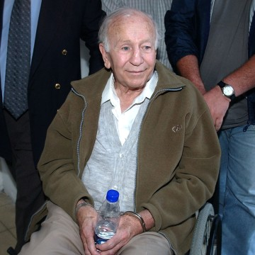 Image: Paul Schaefer after being arrested in Buenos Aires, Argentina