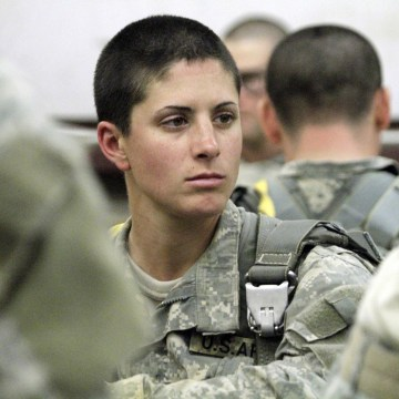 Image: Capt. Kristen Griest waits at Lawson Airfield for the Airborne Assault exercise