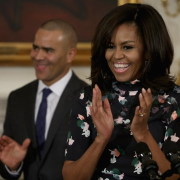 """Michelle Obama Hosts Cast Of Broadway's """"Hamilton"""" At The White House"""