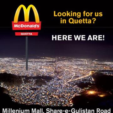 Image: McDonald's ad for restaurant in Quetta, Pakistan