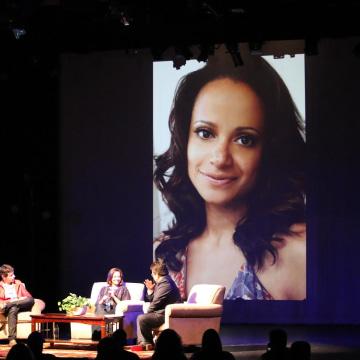 """Rick Najera interviewing actress of """"Scrubs,"""" Judy Reyes at Latino Thought Makers series."""