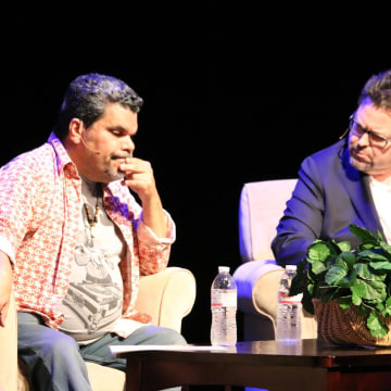 Rick Najera interviewing actor Luis Guzman at Latino Thought Makers series.