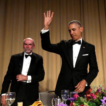 Image: President Barack Obama waves at the White House Correspondents' Association annual dinner in Washington