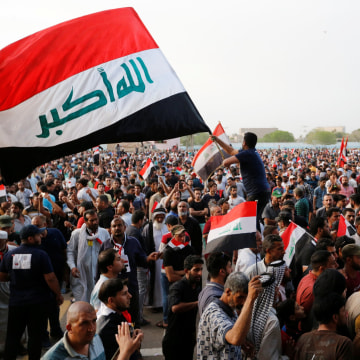 Image: Followers of Iraqi Shi'ite cleric Moqtada al-Sadr gather at Grand Festivities Square within the Green Zone in Baghdad