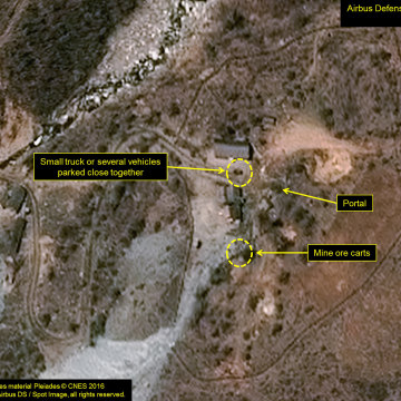 Image: The Punggye-ri test site in North Korea is seen in an image from Airbus Defense and Space and 38 North