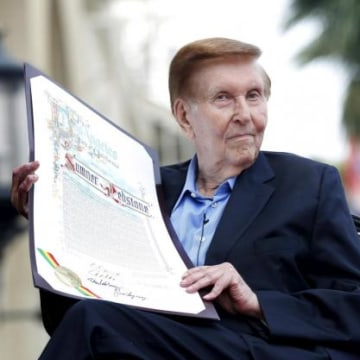 File photo of Executive Chairman of Viacom and CBS Corporation Redstone holding a proclamation to his name in Hollywood