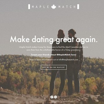 Dating Site Matches Americans Fleeing Trump With Canadians