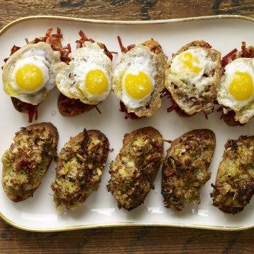 The Basque Book's open-faced fried quail egg chorizo sandwich.