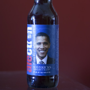 Image: An Obama beer bottle in Cary Jung's collection