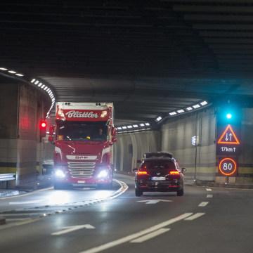 Image: The single-lane road tunnel at Gotthard, Switzerland