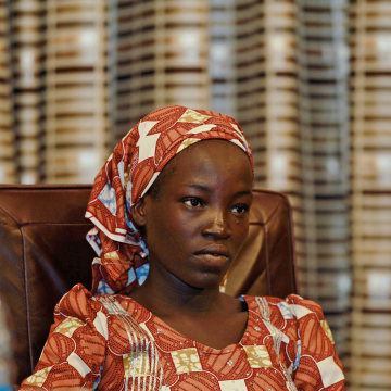 Image: Amina Ali Darsha Nkeki looks on while visiting President Muhammadu Buhari in Abuja