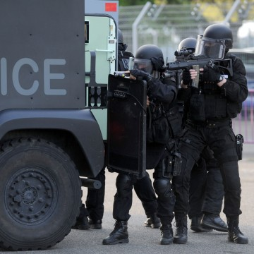 Image: RAID officers in Toulouse, France, on April 14