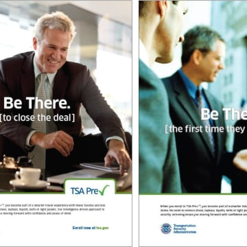 Ads for TSA PreCheck service.