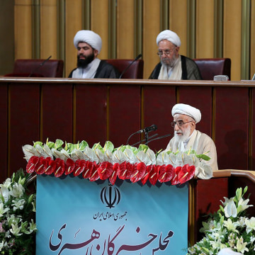 Image: Ahmad Jannati, the head of Iran's new Assembly of Experts, speaks during the Assembly meeting in Tehran