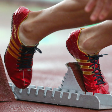 Image: Adidas shoes worn by U.S. runner Jeremy Wariner on May 22, 2016