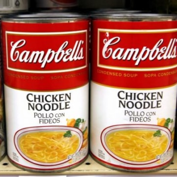 Cans of Campbell's soup line the shelves at a local grocery store in Golden