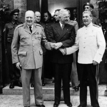 Stalin, Harry Truman And Winston Churchill In Postdam