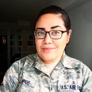 Photo of TSgt. Pamela Campos, analyst in the US Air Force