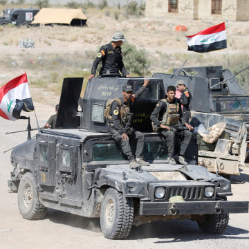 Image: Iraqi security forces gather near Fallujah