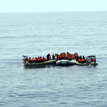 Image: Migrants being rescued at sea