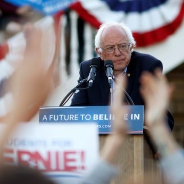 Image: Bernie Sanders speaks during a campaign rally in Monterey