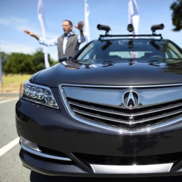 An autonomous version of Acura's RLX Sport Hybrid SH-AWD is pictured during a media tour of carmaker Honda's testing grounds at the GoMentum Station autonomous vehicle test facility in Concord