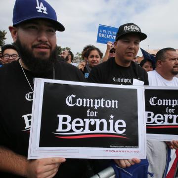 Image: US Democratic Presidential candidate Bernie Sanders rally