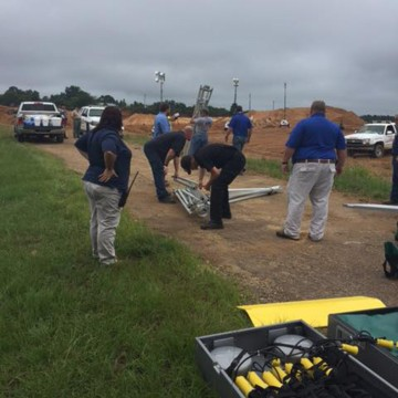 Image: Mississippi Emergency Management Agency team at the site of the landslide