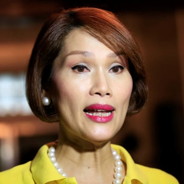 Image: Geraldine Roman, a transgender congressional candidate, answer questions