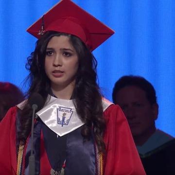 McKinney Boyd High School valedictorian Larissa Martinez speaks at her graduation ceremony.