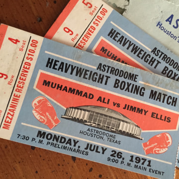 Tickets to Muhammad Ali v. Jimmy Ellis fight dated July 26, 1971.