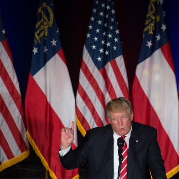 Image: Donald Trump speaks during a campaign rally at The Fox Theatre