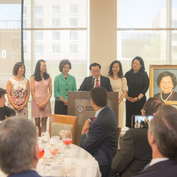 Dr. James Si-Cheng Chao speaking at the dedication of the Ruth Mulan Chu Chao Center.