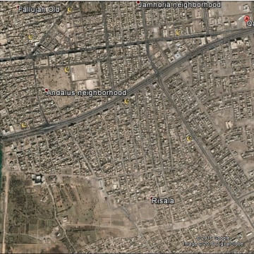 Image: A map showing the position of the liberated Fallujah neighborhoods of Risala and Nazal