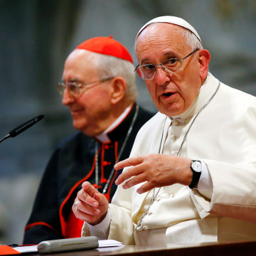 Image: Pope Francis talks during the opening of a meeting of Rome's diocese in Saint John Lateran basilica in Rome